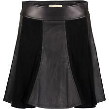 Designer MICHAEL KORS Ladies Women's Black Leather & Suede Skater Skirt - UK 10