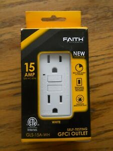 FAITH ELECTRIC SELF TESTING GFCI OUTLET GLS -15A-WH 15 AMP