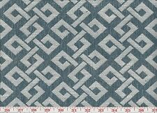 Blue Ivory Labyrinth Pattern Upholstery Fabric by P Kaufmann Prose Cl Denim