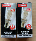 25w 240v SES Clear 300 Degree High Temperature Oven Lamp E14 Light Bulb x 2