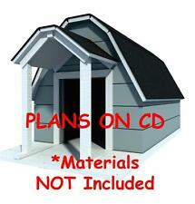 """39"""" x 64"""" Dog House Plans - Gambrel Roof - Pet Size To 150 lbs - Large Dog - 09"""