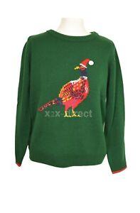 Women's Joules The Cracking Festive Christmas Xmas Jumper Green Pheasant