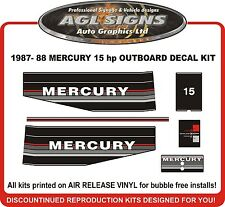 1987 1988  MERCURY 15 hp Outboard decal set reproductions  6 hp 8 hp 9.9 hp also