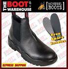 Mongrel 240011 Men's Work Boots, Steel Toe Safety. Black Rambler. Elastic Sided