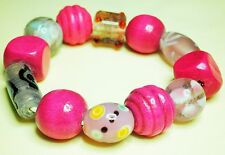 Fun Large Bead Bracelet, Shades of Pink Wooden & Glass Beads Stretch/Adjustable