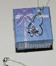 Sterling Silver 925 Butterfly Love Heart Pendant 18 inch Necklace. UK