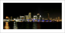 Poster Panorama Miami Florida Skyline at Night Panoramic Fine Art Print - 10x20
