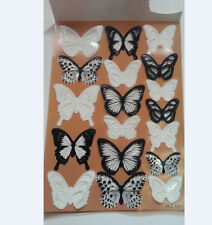 18pcs 3D Black/White Crystal PVC Butterfly Decor Wall Stickers Home DIY Decals