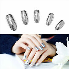 2pc Mirror Effect Chrome Metallic Silver Nail Art Varnish Polish & Base Coat Set