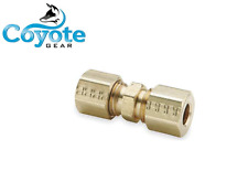 """Brass 3/8"""" Tube x 3/8"""" Tube OD Compression Connector Union Fitting Coyote Gear"""