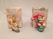 2 Enesco Calico Kittens Christmas Ornaments 1998 & 1999 w/ Boxes