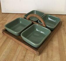Vintage 4 Pc Denby Stoneware Condiment Set w/ Wooden Ternex Tray