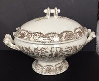 Gorgeous TR Boote Lahore lg TUREEN & LID Aesthetic BROWN TRANSFERWARE Ironstone