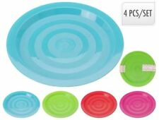 Set of 4 Multi Coloured Plastic Reusable 19cm Plates Kids Party BBQ C&ing  sc 1 st  eBay & Buy Reusable Plastic Party Plates | eBay