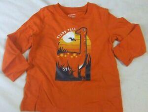 NWT Toddler Boys 18M DINOSAURS Shirt Long Sleeve Orange Jumping Beans STAND TALL