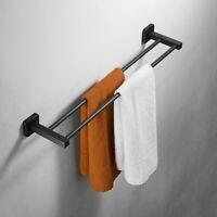 "304 Stainless Steel Bathroom Double Towel Bar Rail Rack Holder Wall Mounted 22"""