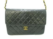 Auth CHANEL Matelasse A03570 Black Lambskin Shoulder Bag Gold Hardware