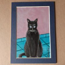 Black Cat Original Miniature 5 in x 7 in acrylic painting on a paper with mat.