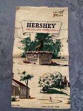 "KayDee HandPrints 100% Pure Linen Towel Hershey Chocolate Town Usa 31"" x 17"" vtg"
