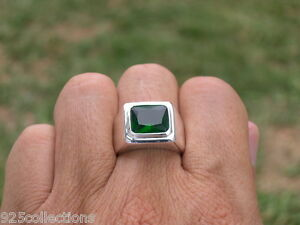 11x9 mm 925 Sterling Silver May Green Emerald Stone Solitaire Men Ring Size 8
