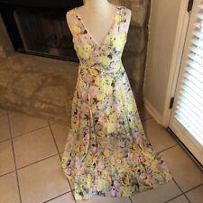 Joan Vass Women's Yellow Rose Floral Printed Printed Day Long Maxi Dress 10