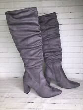 Charlotte Russe Womens Size 11 Gemma Gray Faux Suede Knee High Block Heel Boots