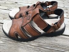 Earth Shoes Sunshine Brown Leather Open Toe Sandals Padded Straps Size 9 Men's