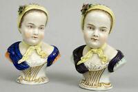PAIR antique dresden carl thieme porcelain bust bourbon children