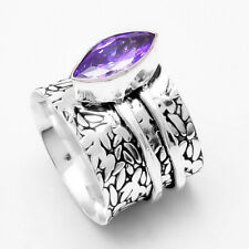 Solid 925 Sterling Silver Spinner Ring Statement Ring Size Amethyst Stone mi4603