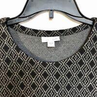 J Jill Top Medium Pullover Knit Stretch Black Gray Diamond Womens Long Sleeve