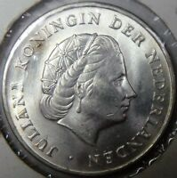 1964 Netherlands Antilles 1 Gulden Silver Brilliant Uncirculated Coin