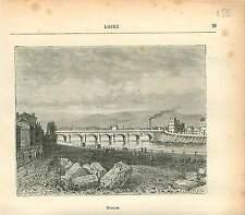 Roanne Loire FRANCE GRAVURE ANTIQUE PRINT 1882