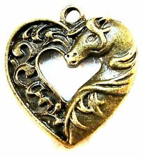 5Pcs. Tibetan Antique Bronze HORSE In HEART Charm Pendant Drops BEAUTIFUL!  HR32