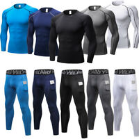 Mens Compression Baselayer Tights Pants Shirts Basketball Gym Sportswear Wicking