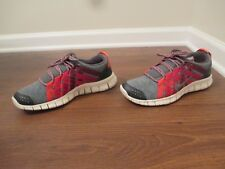 Used Worn Men's Size 8.5 Nike Free Powerlines Shoes Gray, Red, Pure Platinum