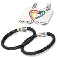 4Pcs Regenbogen LGBT Lesben Gay Match Herz Hund Tag Paar Halskette Armband
