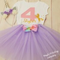 Personalised Birthday Outfit Dress Rainbow Tutu unicorn 1st 2nd 3rd 4th 5th 6th