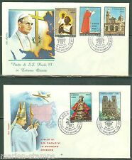 VATICAN CITY 1970 POPE PAUL VI ASIAN VISIT  SET OF TWO  ROMA  FIRST DAY COVERS