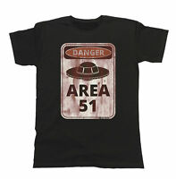 Danger Area 51 Aliens Funny Mens T-Shirt UFO Spaceship Space Ladies Gift Top