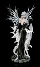 Große Elfen Figur Nathaira mit weißem Drachen - Deko Statue Elfe Dragon Fantasy