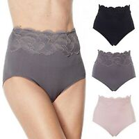 Rhonda Shear Ahh Briefs 3-Pack 712111 Lace Trim Seamless High Rise Panties