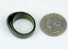 19.2mm Natural Green Nephrite Jade Gemstone Ring Wedding Jewelry, US Size 10