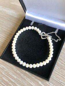 Ernest Jones 9ct White Gold Diamond & Pearl Bracelet