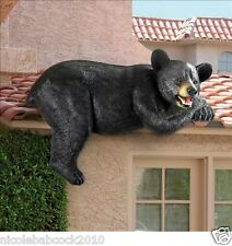 WILDLIFE BLACK BEAR SCULPTURE OUTDOOR FENCE ROOFTOP GARDEN IN HOME DECOR 17 LBS
