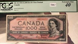 1954 Bank of Canada $1000 Devil's Face Banknote PCGS EF40 Cat#BC-36