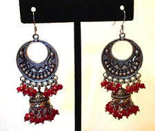 Vintage Sterling Silver Etruscan Crescent Moon Ruby Beaded Chandelier Earrings