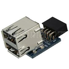 More details for motherboard 9 pin usb pin header to 2 layer type usb 2.0 a female ports adapter