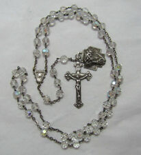 """† VINTAGE STERLING 3D """"ECCE HOME"""" MEDAL & AURORA BOREALIS ROSARY NECKLACE 29"""" †"""