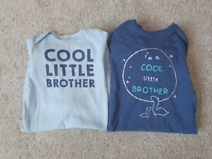2 X 3-6 Month Little Brother Sleepsuits