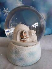 Eskimo and Polar Bear Snowglobe . Christmas Decoration . Ornament .